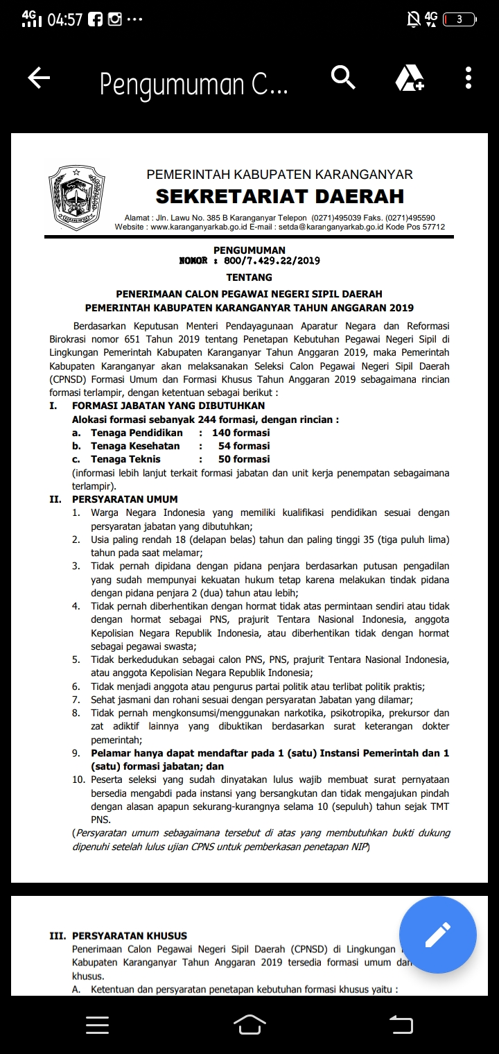 Pengumuman Formasi CPNS Tahun 2019 Kabupaten Karanganyar