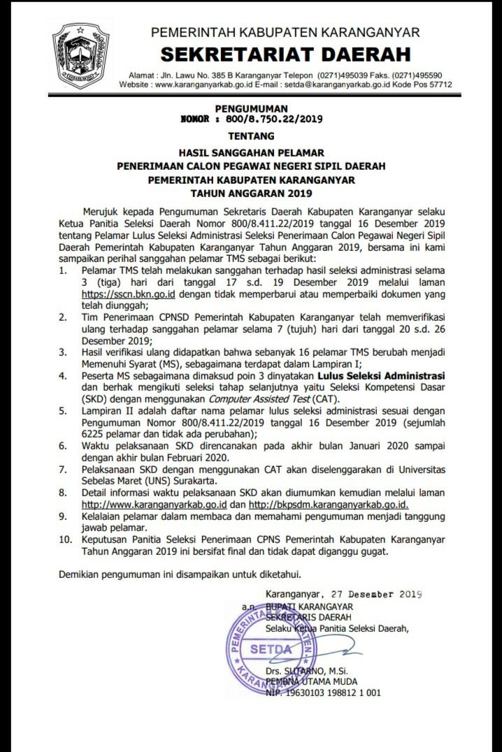 PENGUMUMAN HASIL SANGGAHAN PELAMAR CPNS 2019