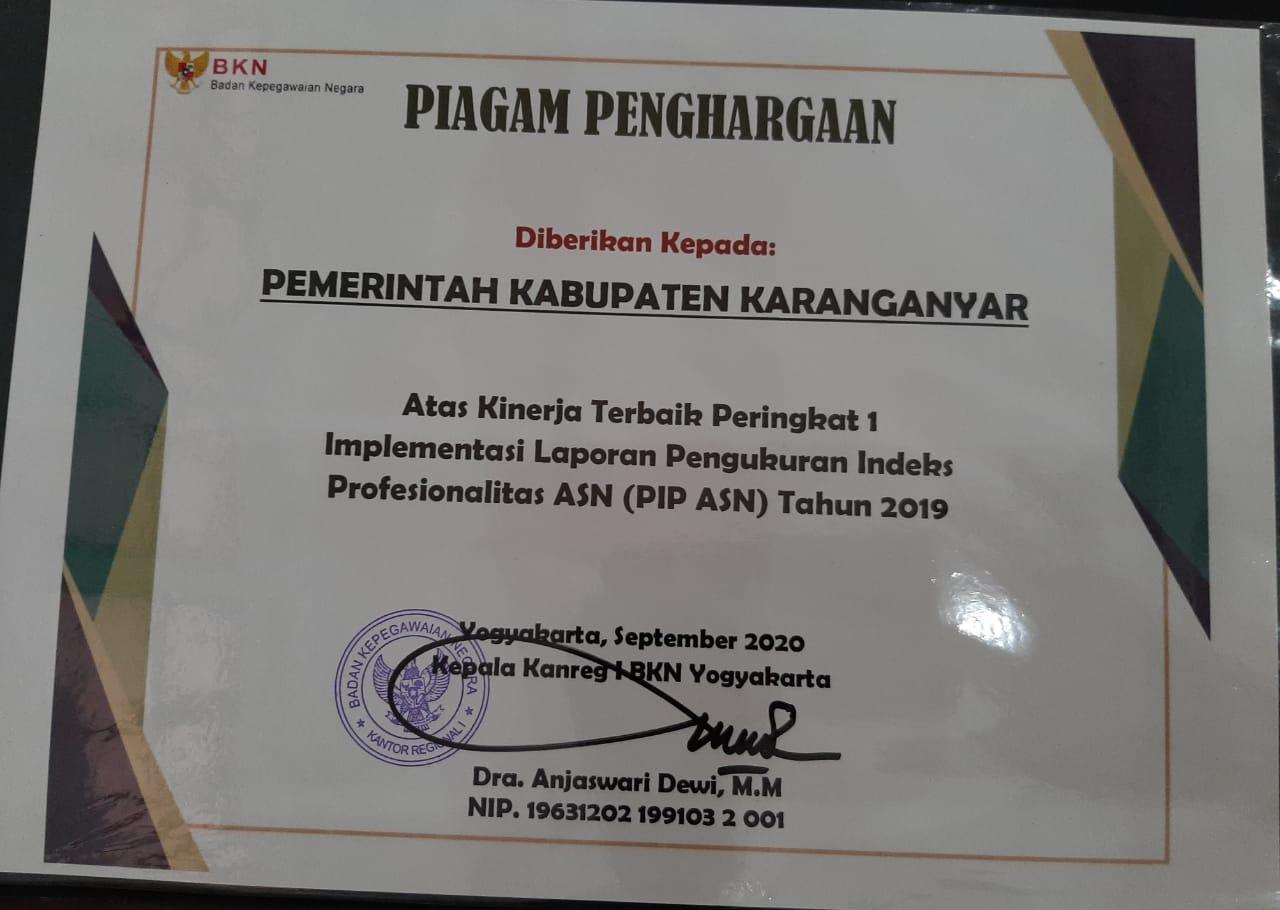 Pemkab Karanganyar Raih Penghargaan dari Kanreg I BKN